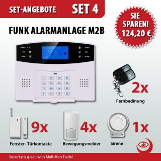 set 4 m2b gsm funk alarmanlagensystem mit lcd display multi kon tr. Black Bedroom Furniture Sets. Home Design Ideas